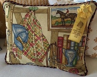 Tack Room Pillow with Vintage Horse Show Ribbon
