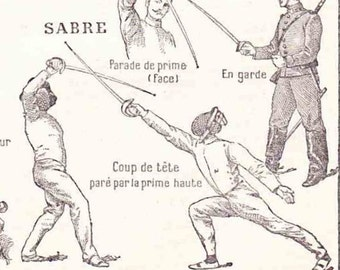 Antique French Print Dictionary Page 1930s Illustrations fencing epee musketeers sword Swashbuckling page
