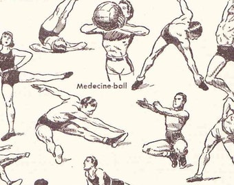 Antique French Print Dictionary Page 1930s Illustrations Gymnastics Fitness Health Yoga Pommel Horse Bar Musculation page