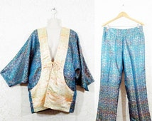 40% OFF SALE Vtg 80s 2 Piece Handmade Brocade Draped Kimono Jacket + Trousers sz L/Xl