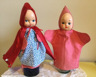 Upcycled 1950s Little Red Riding Hood Puppet With Friend