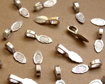 25 pc. Antique Silver Glue-On Bails: 26mm by 8mm | FI-270