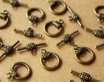 10 sets Antiqued Bronze Toggle Clasps and Bars | FI-241
