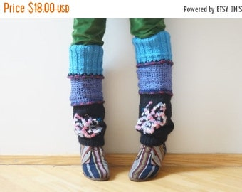 HALLOWEEN SALE SALE Leg warmers Boot cuffs hand knit butterfly long knee pink black boho hippie gaiter cable patterned ready to ship Woodlan