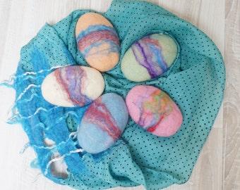Pastel 5 felted soap bar in bulk gift lot Christmas favor wedding Easter egg shape set scrub and sponge in 1 powder blue pink green white