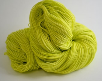 Hand dyed yarn pick your base - Chartreuse - sw merino cashmere nylon fingering dk worsted