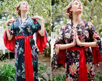 "The ""Haiku"". One custom made long Haiku robe in cotton trimmed with satin. Long kimono robe with pockets Long womens robe Lined for modesty."