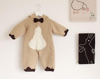 Crochet pattern Baby Bear Playsuit pdf
