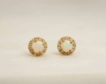 Round Opal Diamond Halo Earrings in 14K Yellow Gold