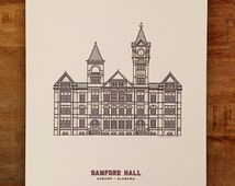 Samford Hall - Auburn University - Illustration - Multiple Sizes - (Original Print)