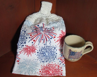 Tea Towel Fireworks With Crocheted Topper For Hanging