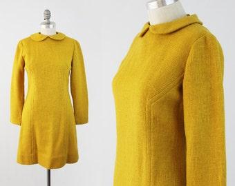 Vintage 60s MOD Mustard Dress - Long Sleeve Wool Shift Dress w/ Peter Pan Collar - Modes Day Dress by Carlette - Size Medium S/M