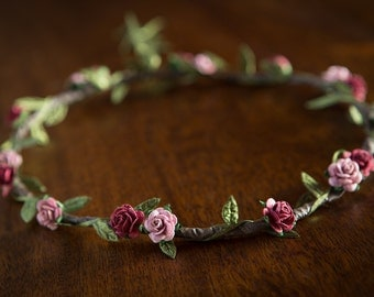 Boho Flower Crown - Burgundy & Dusty Pink Rose ... WEDDINGS, BRIDESMAIDS, FESTIVALS