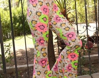 Neon Floral Boho stretchy pant-Hippie flare pants-Boho pants-Leggings-Gypsy pant-Yoga pant-70's clothing-Bell bottom-Outfit-XS-S-M-L-XL !!
