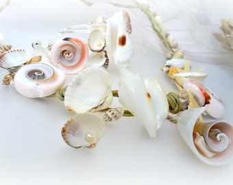 Beach wedding bridal jewelry set earring necklace and bracelet, Mermaid jewelry, Seashell necklace, seashell bracelet, eco jewelry,