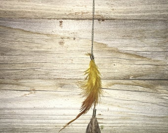 Yellow feather hair clip