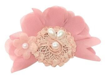 Hair Clip- Headband-Dusty Rose Baby Headband-Pearl Hair Clip-Flower Hair Clip-Pink Hair Clip- Girl's Headband-Photo Prop-Chic Headband-Girls