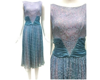 20% OFF SUMMER SALE / 1950's Prom Dress/ 1950's Party Dress/ Blue Lace Dress