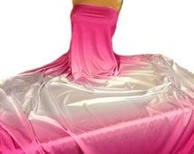 "Poly Lycra Spandex PRINT 60"" 4 Way Stretch Costume*Dancewear Activewear Fabric~Deep Pink/White Ombre Dyed"