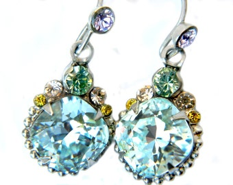 Sorrelli Blue Caribbean Earrings Austrian Sparkling Crystal Vintage High Fashion Jewelry For Women Multicolor Caribbean Summer Earrings