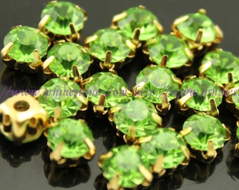 Sew on gem Light Green chatons in gold finding setting 3mm 4mm 5mm 6mm 7mm 8mm 10mm