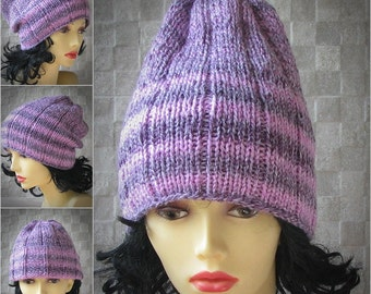striped knitted hat for women pink knit hat knit womens beanie slouchy hat winter cap hipster fashion chemo beanie