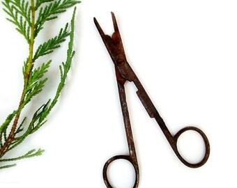 SALE Antique Rusty Metal Scissors, Antique Italian Scissors , industrial scissors , Rustic Home Decor ,old metal scissors .