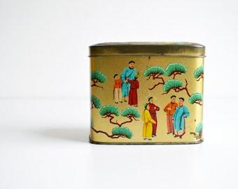 Tea tin box, Chinese decor, gold, red, blue, vintage