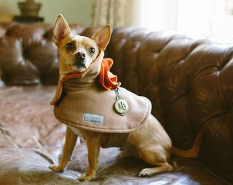 Cashmere dog coat with built in harness