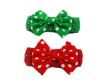 Baby Headband Bows, Baby Girl Gift, Newborn Girl Headband and Bows, Baby Head Band, Red, Green, Newborn Photo