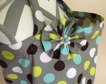 Grey Nursing Cover - grey polka dots nursing cover with a fabric flower clippie - Ready to ship