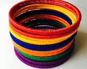 Colorful Thread bangles set - dark colors - red, blue, green, orange, yellow and purple bangles