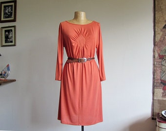 SALE! Orange shift dress with draped detail. Casual tunic dress, unique comfy jersey day dress for her. 3 4 sleeve, boat neck. Sizes M, L