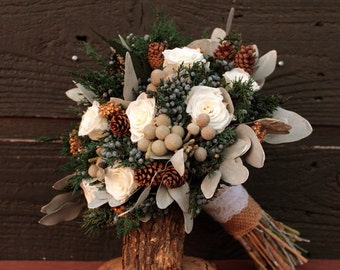 Woodland Winter White Wedding Bouquet, Winter Wedding Bouquet, Winter Brides Bouquet, Rustic Pinecone Bouquet, Rose & Brunia Bridal Bouquet
