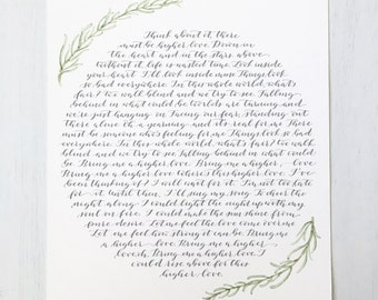 Wedding Vow Calligraphy, Ketubah, Calligraphy Vow, Custom Calligraphy, Custom Watercolor Vows, Wedding Vows Print, Paper Anniversary