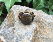 Wire Wrap Ring with Dakota Stones Dragon Blood Jasper and Vintage Bronze Wire