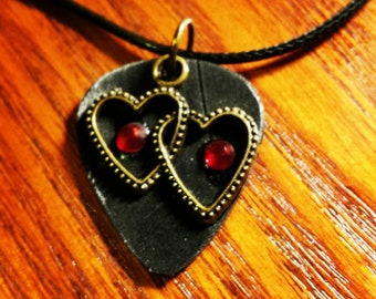 Guitar Pick Necklace from Vinyl Record - Two Hearts CLEARANCE