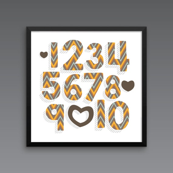 I LOVE YOU (Patterned - ZigZag Harvest) Framed Number Poster Print - Nursery, Kids Room, Wall Art Modern