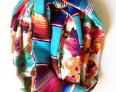 Turquoise Traditional Mexican Serape and Colorful Watercolor Floral Infinity Circle Scarf