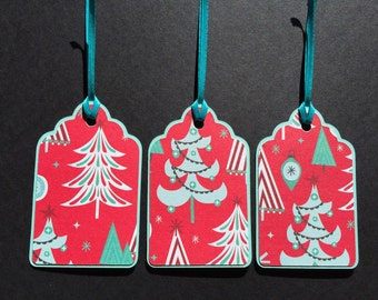 Whimsy Vintage Christmas Trees - Large Gift Tags - Set of 12
