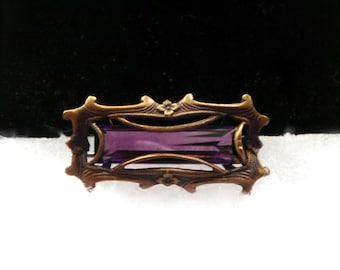 Antique ART NOUVEAU Amethyst Glass Brooch  Pin  circa 1900