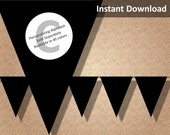 Black Solid Halloween Bunting Pennant Banner Instant Download, Party Decorations