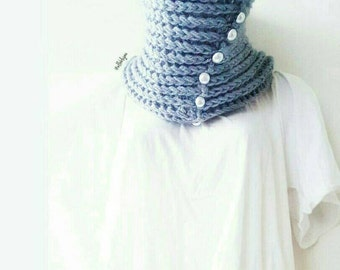 Brielle Cowl. Tall ribbed cowl, scarflette, neckwarmer,  handmade with light gray yarn and pearl buttons.