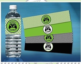 PERSONALIZED Video Game Themed - Water Bottle Label - .jpeg & .pdf files only- You Print