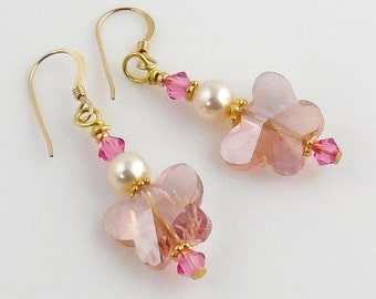 Pink Butterfly Crystal Earrings, Beaded Crystal Earrings, Fashion Jewelry Accessories, Gifts, Valentine Day, Mother's Day