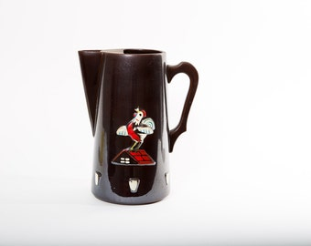 Rooster Pitcher Mid Century Ceramic Serving 1960s