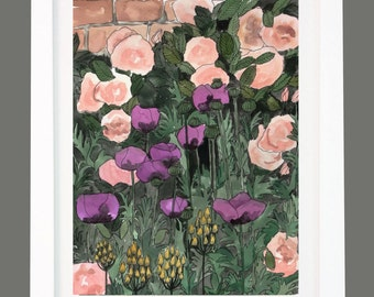 Rose Garden with Poppies Floral Print A3/A4