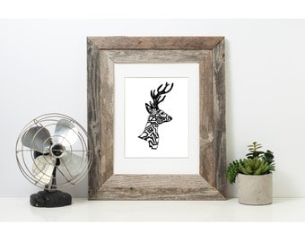 Art, Black and White Art, Pen and Ink Deer, Signed 5 x 7 Print, Home Decor, Design Drawing, Deer Drawing, Animal Drawing