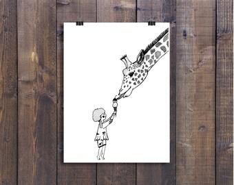 Giraffe Art, Children's Art, Nursery Art, Black and Whte Drawing, Pen and Ink Drawing, Giraffe Drawing, Illustration Print, Art Print
