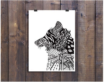 Black and White Art Poster, Wolf Art, Wolf Poster, Art Print, Pen and Ink Art, Black and White Wolf, 11 x 14 Poster Print